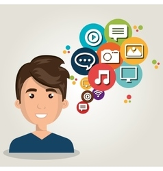 Man web online isolated vector