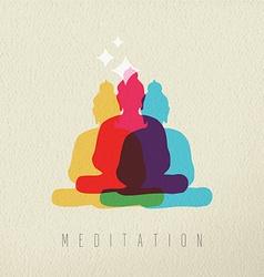 Meditation concept design of peace asian buddha vector image
