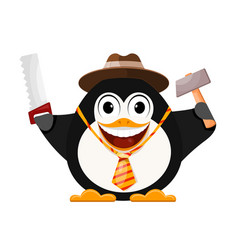 merry penguin in a hat with a hammer and a saw vector image vector image