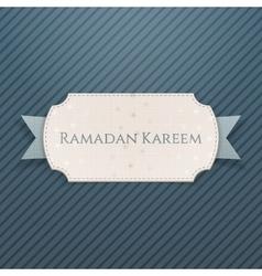 Ramadan kareem festive card with greeting ribbon vector