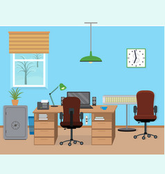 winter office room interior with furniture and vector image vector image