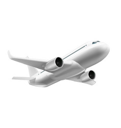 3d white glossy commercial jet airplane in sky vector