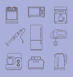 A set of icons of household kitchen appliances vector