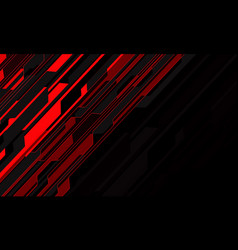 abstract red light circuit cyber slash on black vector image