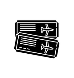 airline tickets black icon sign on vector image