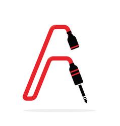 alphabet a letter logo formed jack cable vector image