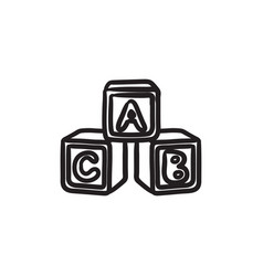 Alphabet cubes sketch icon vector