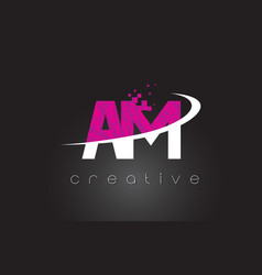 Am a m creative letters design with white pink vector