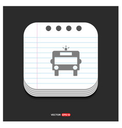 ambulance icon gray icon on notepad style vector image