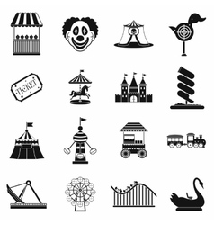 Amusement park black simple icons set vector