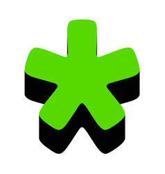 Asterisk star sign green 3d icon vector