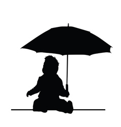 baby holding umbrella silhouette vector image