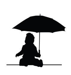 Baby holding umbrella silhouette vector