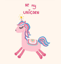 Be my unicorn valentine love card vector