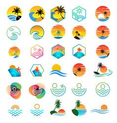 Beach sunset logo design holiday logo collection vector