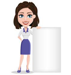 Beautiful business woman standing near blank vector