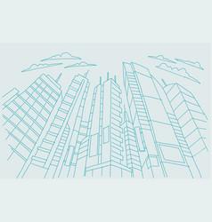 Big city skyscraper sketch buildings blue line vector