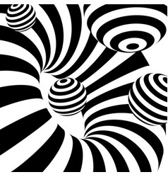 Black and white abstract stripes optical ilusion vector