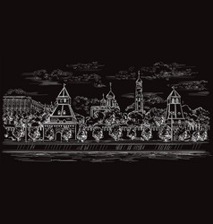 black hand drawing moscow 5 vector image