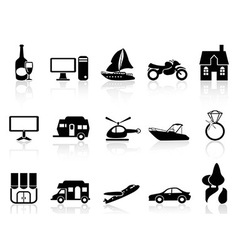 Black property icons set vector