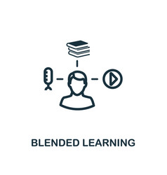 Blended learning icon outline style thin line vector