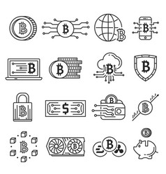 blockchain line icon set vector image