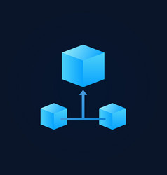 Blue 3d cube blockchain icon - block chain vector