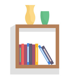 Bookshelf with books and vases in room interior vector
