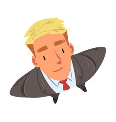 Businessman with blond hair wearing grey suit vector