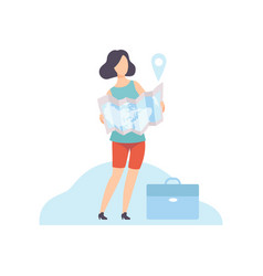 Businesswoman holding paper map with navigation vector