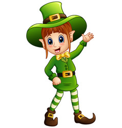 Cartoon girl leprechaun waving vector