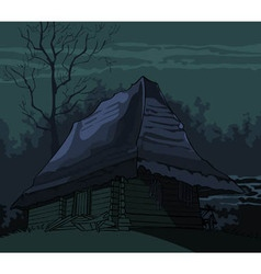 Cartoon grim spooky old house in the night vector