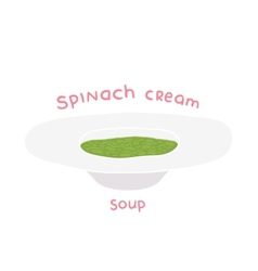Cartoon hand drawn spinach cream soup vector