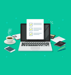 checklist document in laptop and working desk vector image