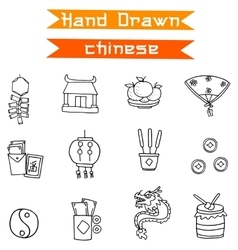 Chinese icons collection vector image