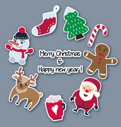 christmas and new year stickers made of paper vector image