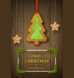 christmas gingerbread on dark wooden background vector image