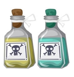 Closed bottles with yellow and blue poison vector image