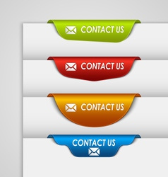 Color label bookmark contact on the edge of web vector