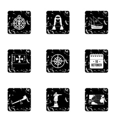 Columbus Day icons set grunge style vector