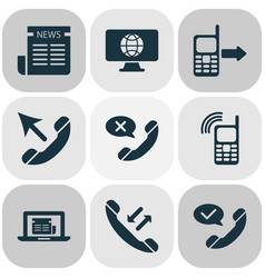 communication icons set with online news mobile vector image