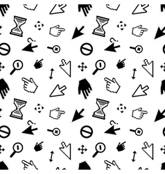 Computer arrow cursors on white seamless pattern vector image