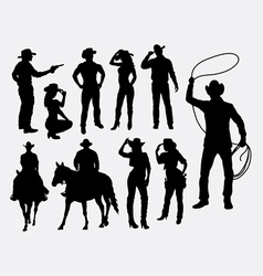 Cowboy and cowgirl silhouettes vector image