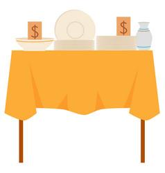 Crockery goods on table dishware retail vector