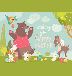cute bearhappy rabbits and little deer vector image