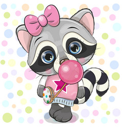 cute cartoon raccoon with bubble gum vector image