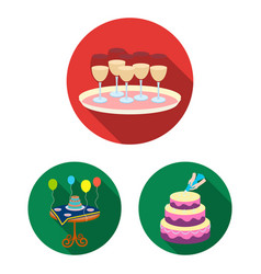 event organisation flat icons in set collection vector image