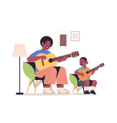 Father teaching little son to play guitar vector
