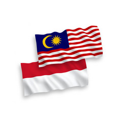 Flags indonesia and malaysia on a white vector
