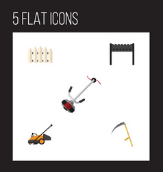 Flat icon farm set of wooden barrier lawn mower vector